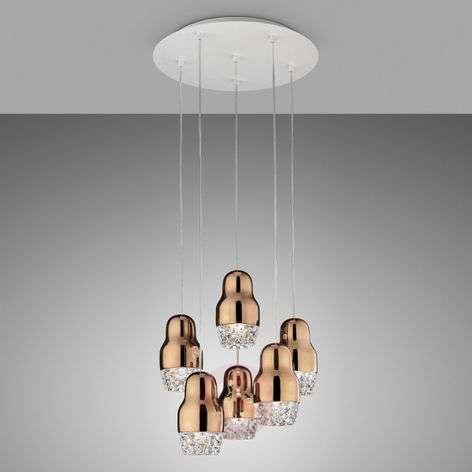 Six-bulb LED hanging lamp Fedora rose gold