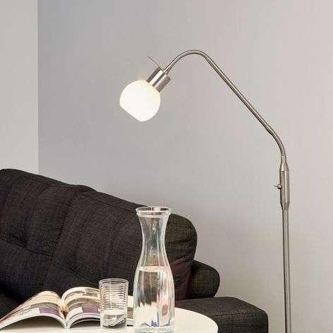 Small LED floor lamp Elaina, nickel matte