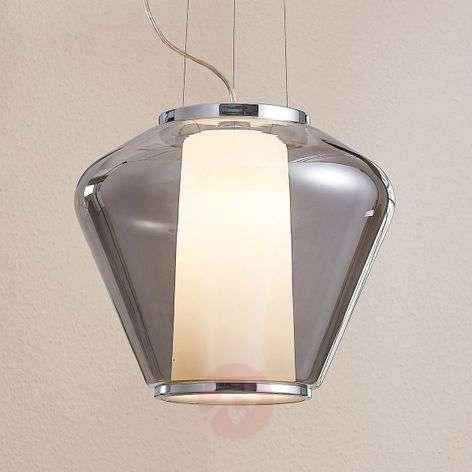 Smoky glass pendant lamp Lorit, white inner shade