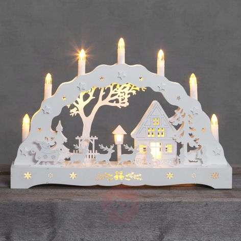 Snow Cottage LED candle arch
