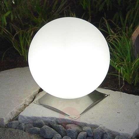 Snowball globe light, white, stainless steel base