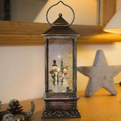 Snowman lantern LED water-filled battery-operated