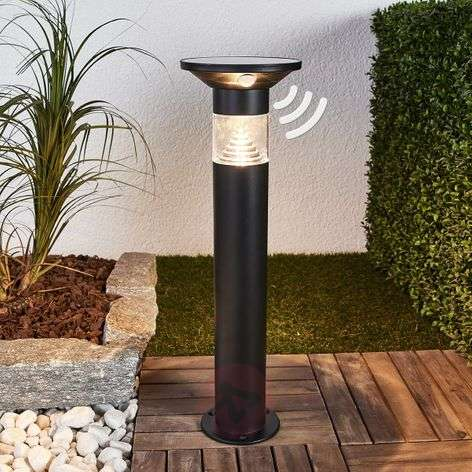 Solar LED pillar light Jalisa in black, sensor