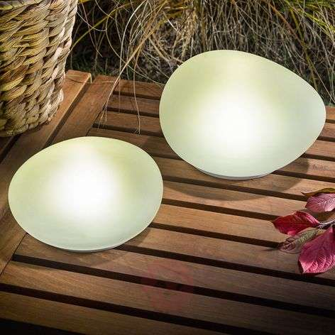 Solar-powered LED deco stones Flintstone set of 2