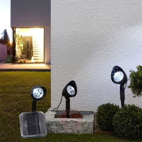 Solar spotlight Lylia with LEDs, 3-piece set