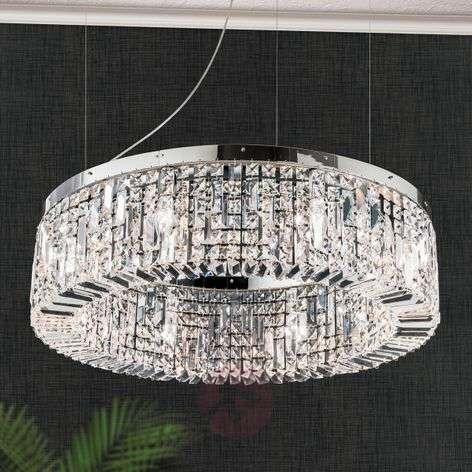 Sparkling crystalhanging lamp Ring 80 cm chrome