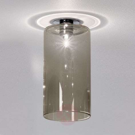 Spillray - installed light with grey glass shade