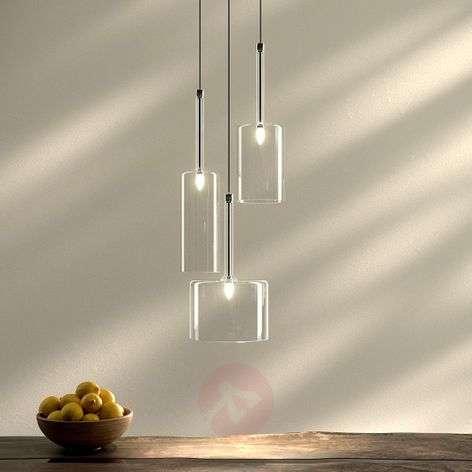 Spillray three-bulb glass pendant light