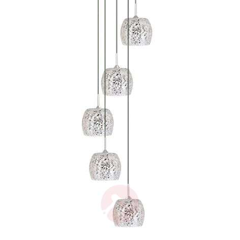 Spiral-shaped POLAR pendant lamp with mosaic glass
