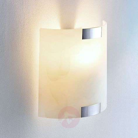 Square glass wall light Quentin with an E14 LED