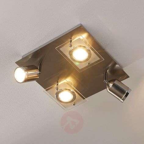 Square LED ceiling light Fjolla, 4-bulb