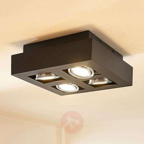 Square LED ceiling light Vince, black four-bulb