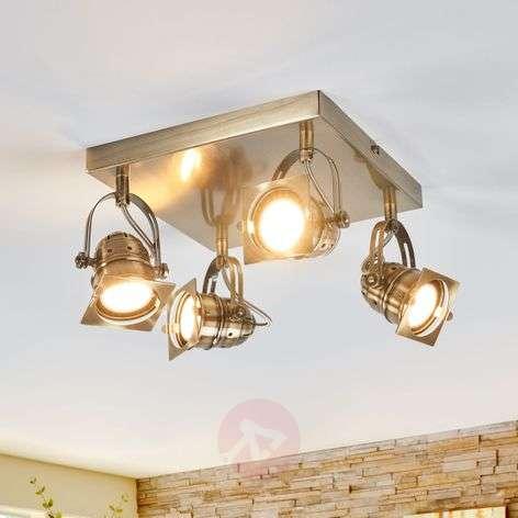 Square LED kitchen lamp Janek in antique brass-9639081-39