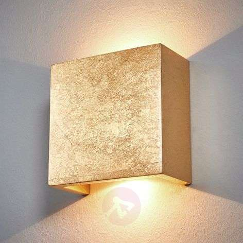 Square LED wall lamp Erica with a gold finish