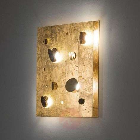 Square LED wall light Buchi with gold leaf
