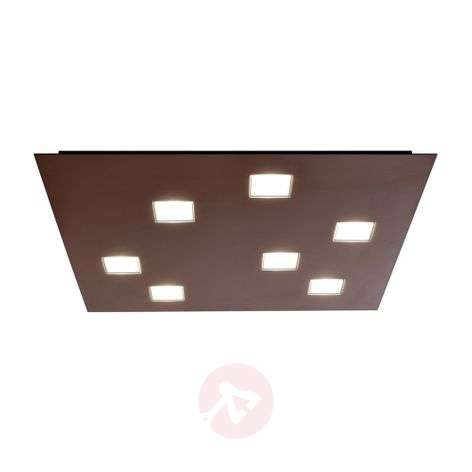 Square Quarter LED ceiling lamp with 7 LEDs, brown