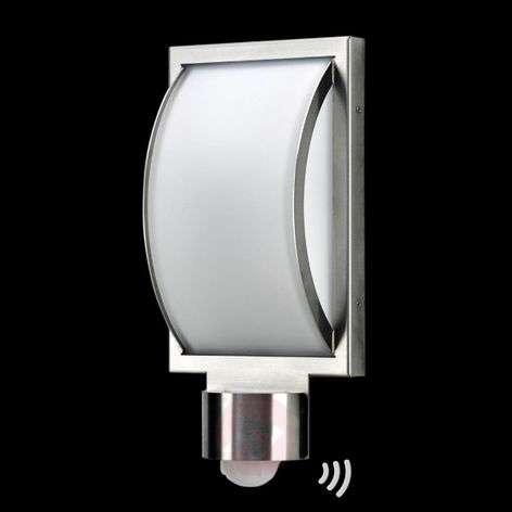 St. steel outdoor wall light Curvo with sensor