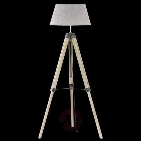 Stage wooden floor lamp with fabric lampshade
