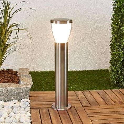 Stainless steel pillar light Selma with LEDs