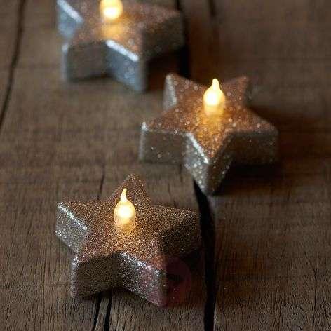 Star LED tea light Line, champagne glitter, 6-8577103-31