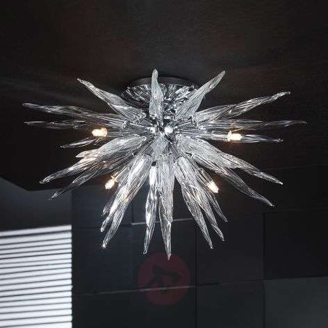 Star-shaped ceiling light Urano, crystal