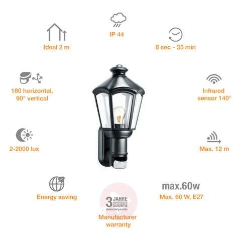 Steinel L 562S Sensor wall light for Outside black