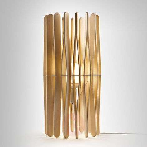 Stick designer table lamp made of wood