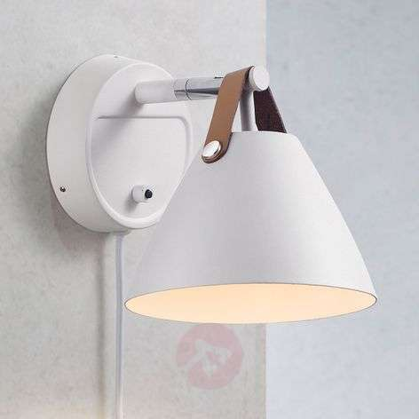 Strap wall light with a leather strap, white