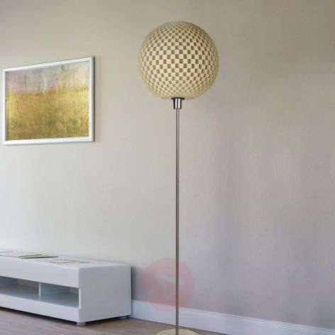 Striking Flechtwerk designer floor lamp, linen