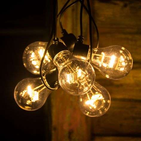 String lights with LED bulb filament look amber