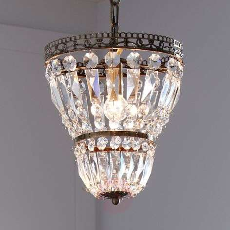 Sundsby hanging lamp with crystals, antique brass