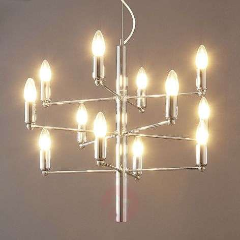 Suspended candleholder Tadina in chrome