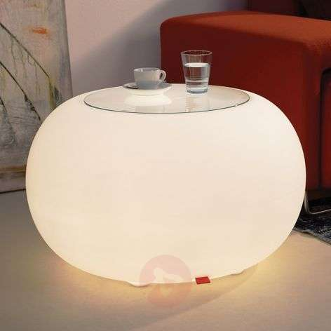 Table BUBBLE Indoor LED white light + glass panel