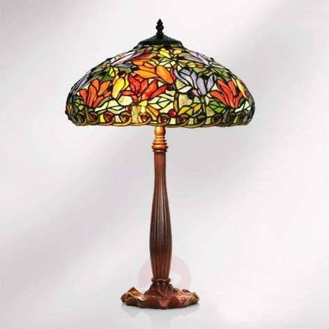 Table lamp Elaine in a floral Tiffany style, 64 cm