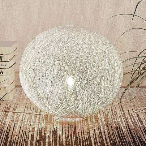 Table lamp Julio, sphere, white, woven paper