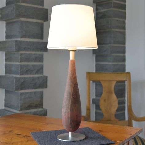 Table lamp Lara wooden base fabric lampshade
