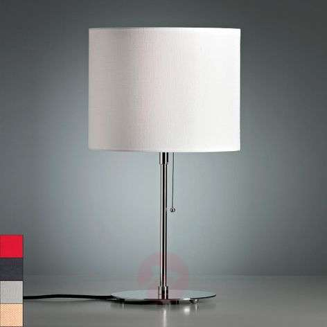Table lamp with a coloured linen lampshade