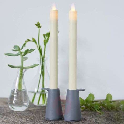Tall Sara LED real wax candles in set of 2