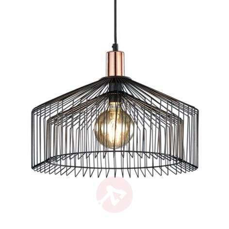 Tania - Black hanging light with cage lampshade