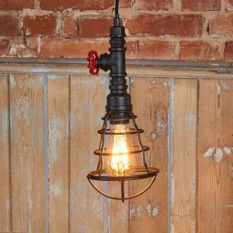 Tap pendant lamp with cage and one bulb