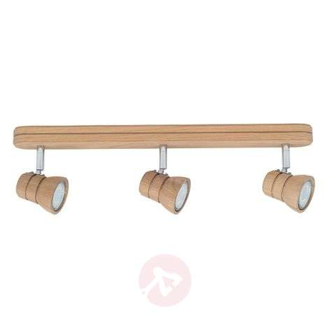 Tessa LED ceiling lamp, oak wood, 3-bulb
