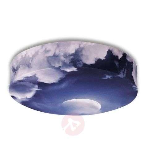 Textile ceiling light Bio with moon motive, 80 cm