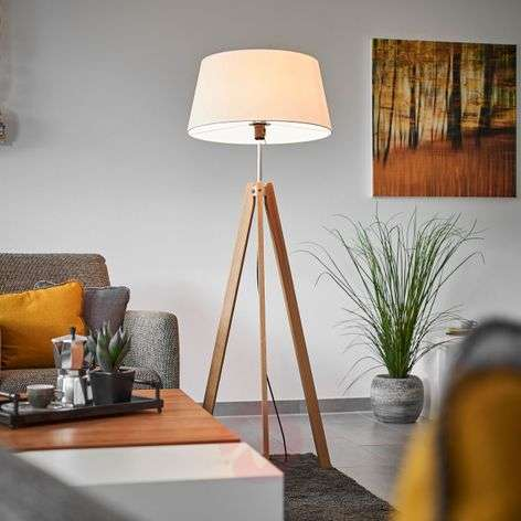 Textile floor lamp Thea with an oak frame