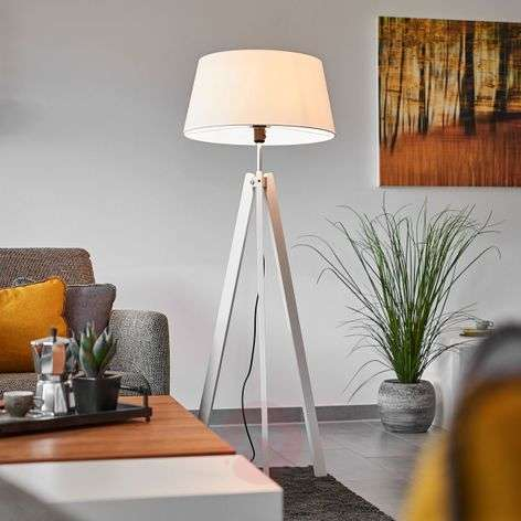 Thea tripod floor lamp with wooden legs