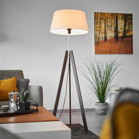 Thea wooden floor lamp w. champagne-coloured shade