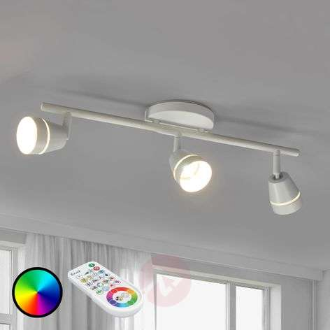 Three-bulb Ivory LED ceiling spotlight, remote