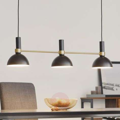 Three-bulb Larry hanging lamp in black and brass