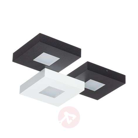 Three-bulb LED ceiling lamp Cubus, black and white