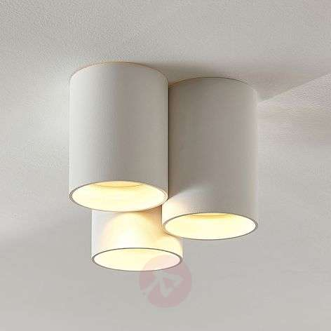 Three-bulb LED ceiling light Smaranda in white