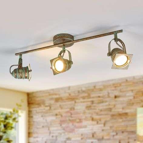 Three-bulb LED ceiling spotlight Janek, antique